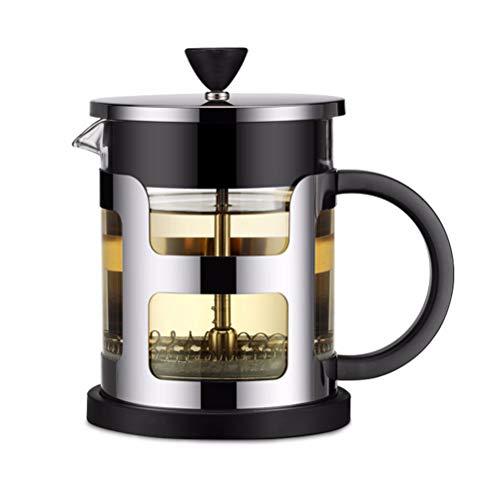 QiHong QiHong French Press Kaffeekanne, langlebiges Edelstahlmaterial Hitzebeständige Borosilikatglas-Teemaschine mit Sieb schwarz, für Zuhause, Camping und Reisen (1000 ml)