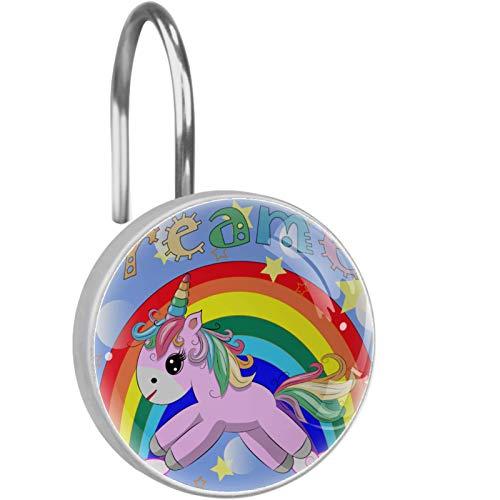 AITAI Ganchos para cortina de ducha, diseño de unicornio, arco iris, a prueba de óxido, 12 unidades