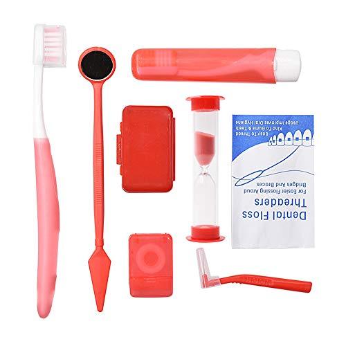 Portable Orthodontic Toothbrush Kit Orthodontic Care Kit Interdental Brush Dental Wax Dental Floss Toothbrush Box Oral Care Kit (Red)