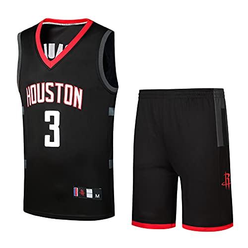 DAQAXGAO Conjunto de Camiseta de Baloncesto para Hombre, Camiseta de Abanico Bordada con Camisetas de Rockets #3, Camiseta y pantalón Corto Sueltos y Transpirables,Negro,S