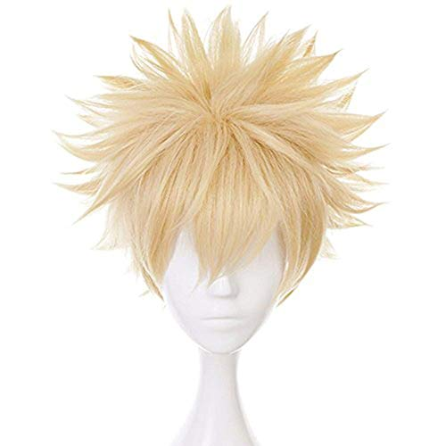 Anogol Hair Cap+Short Wavy Cosplay Wig Blonde Wigs Synthetic...