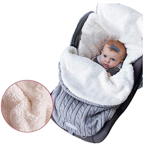 Gkmamrg Slaapzak, baby, winter, lichtgrijs, pasgeborenen, baby gebreid, wikkelen, swaddle deken, kinderwagen, slaapzak voor 0-12 maanden baby