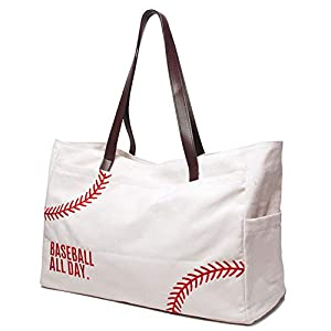 This adorable canvas baseball tote is perfect for taking to the game! Awesome for Baseball Moms or for anytime you want to show off your love for the sport! The material is canvas. The bag has a snap closure. The totes measure 17.5x7x12.5 inches ,Bro...