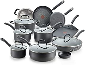 T-fal Ultimate Hard Anodized Nonstick 17 Piece Cookware Set, Black