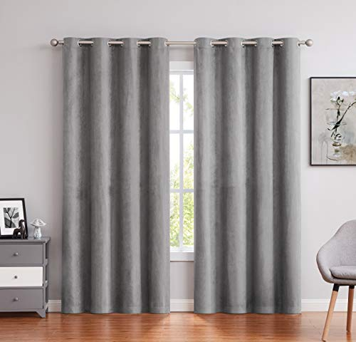 """Randall Faux Suede Window Curtain Panels 63 Inch Length with Grommet Top Grey Solid Room Darkening Window Treatment Drapery Set for Bedroom/Living Room, Gray, 55""""×63""""×2"""