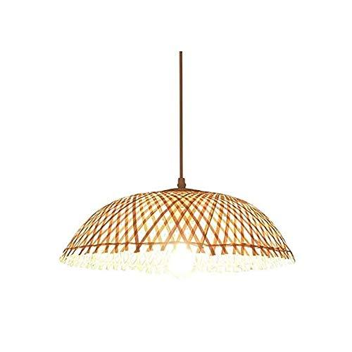Luz colgante moderna Corte a mano de alta luz de transmisión de luz, tejido de bambú natural E27 Araña ajustable, 39 × 17cm Adecuado for sala de estar, dormitorio, café, restaurante, lámparas de hotel