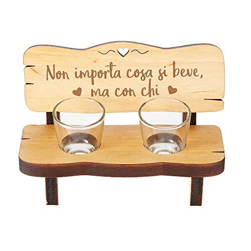 Casa Vivente Panchina per Shot in Legno con 2 Bicchierini in Vetro Inclusi, Incisione Non Importa Cosa Si Beve, Accessori Decorativi Casa
