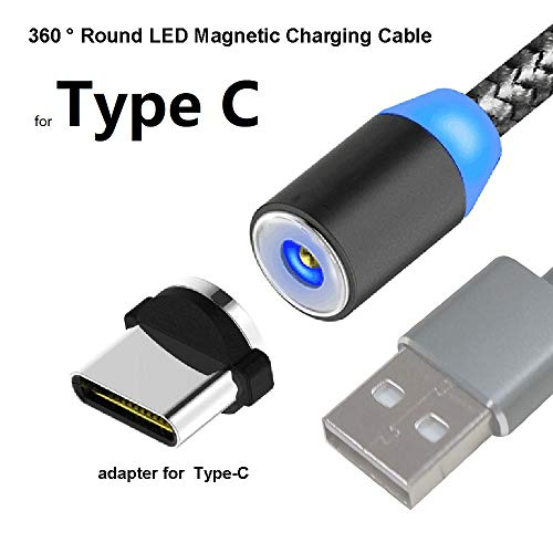 TAiKOOL Magnetic Phone Charger Charging Cable,360° Round,Max 2.4A Fast Charging,LED Indicator, Compatible for USB C Type C Devices Cell Phone Pad Tablet.(Type C)