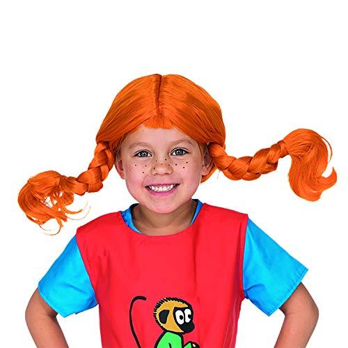 Micki & Friends 44360100 Pippi Langstrumpf Perücke - Kinder - bis zu 60 cm Kopfumfang - 3-6 Jahre - Fasching - Karneval - Halloween - Verkleidung - rote Haare mit biegbaren Zöpfen - elastisch