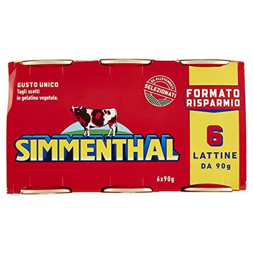 Simmenthal - Carne in Scatola di Bovino Magra Lessata con Gelatina Vegetale e Miele, 6 Lattine da 90 gr