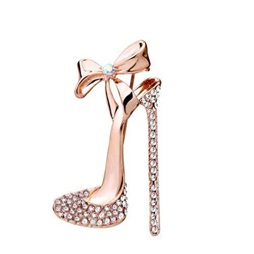 L_shop High Heel Brosche Golden Bow Strass Glänzende Schuhbrosche