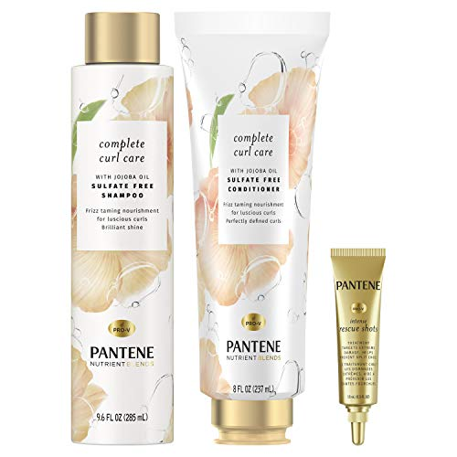 Pantene Sulfate Free Shampoo and Conditioner Plus Hair Mask Rescue Shot Treatment, with Jojoba Oil for Curly Hair, Nutrient Blends Complete Curl Care