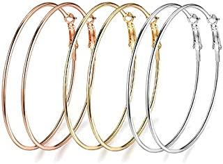 Yellow Chimes 3 Pairs Big Hoops Celebrity Choice by Yellow Chimes Gold Plated Hoop Earrings for Women (Silver;gold;rose Gold) (YCFJER-115HOP-C-MC)