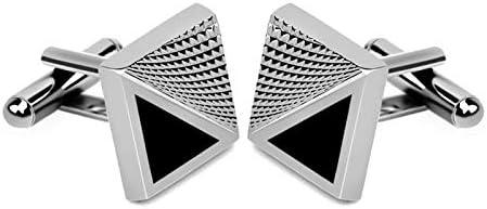 GZBSTDQ 2pcs Men's Shirt Cufflinks, Personalized Striped Plaid Cufflinks, Square Cufflinks