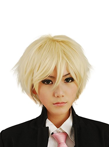 HH Building Cosplay Wig Men s Short Layered Halloween Costume Hair Wig (Blonde)