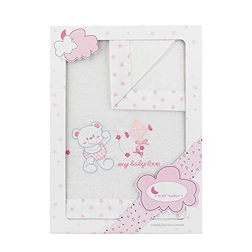Sábanas de Franela para minicuna My Baby Love, en blanco y rosa