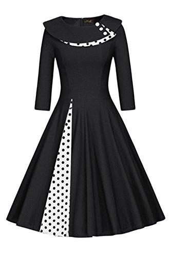 MisShow Damen Vintage Kleid 50er Jahre lamgarm Rockabilly Kleid Festlich Kleid Faltenrock Gepunkt Knielang- Gr. 3XL, Schwarz