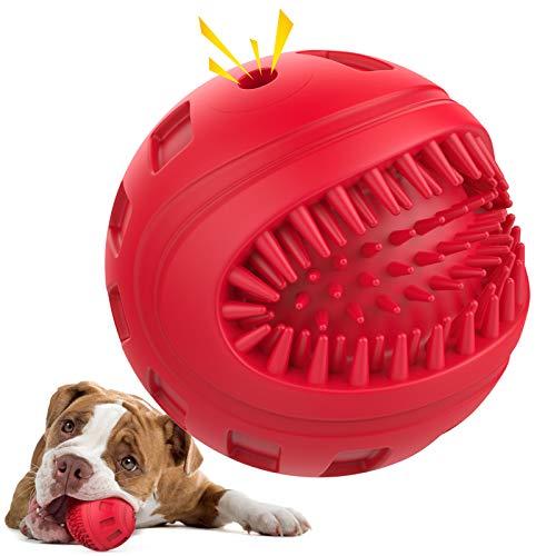 Pawaboo Bola de Sonido de Juguete para Mascotas, Caucho Natural para Limpiar los Dientes, Aumenta Tiempo de Interacción con Perro, Adecuada para Perros Medianos/Grandes - Rojo