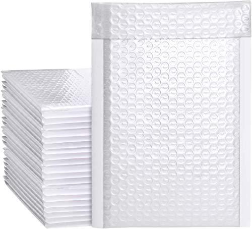 Switory Lot de 50 enveloppes à bulles en polyester pour emballage Blanc Format A5 15,3 cm x 26,9 cm