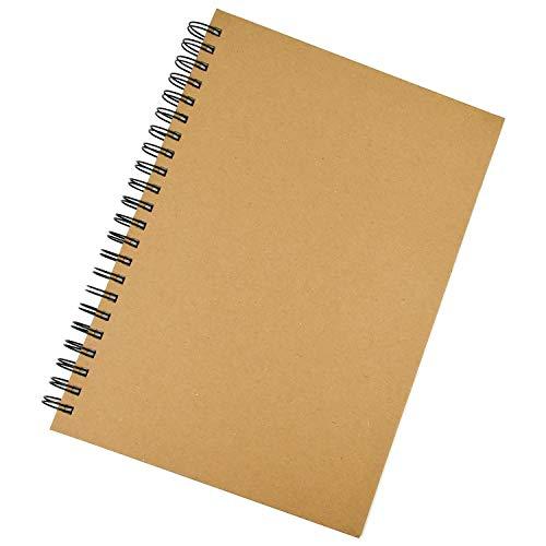 Inntek Cuaderno de Dibujo, Bloc de Dibujo, Cuarderno Espiral, Libro de Boceto, Cuaderno de Boceto 60 Pájinas A4 Papel Grueso para Escribir Dibujar Cubierta Kraft