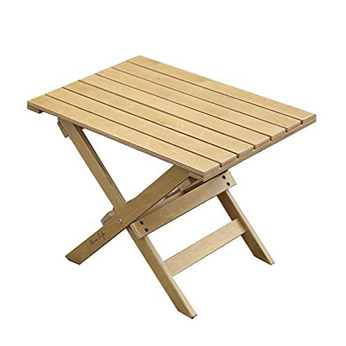Sidobord Liten Vikbara Soffbord för Utomhus Uteplats, Torget Naturligt Trä Slatt Slutbord för Picknick, Strand, Båt (Color : A)