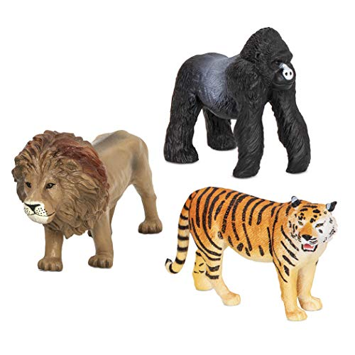 Terra by Battat – Jungle Animals (Lion, Tiger & Gorilla) – Jungle Animal Toys with Lion Toy for Kids 3+ Pc, Multicolor