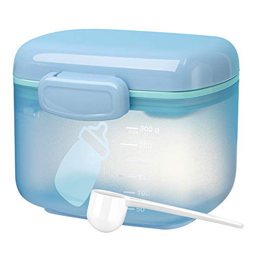 Zooawa Baby Formula Dispenser 300g, Portable Travel Milk Powder Formula Container Candy Fruit Snack Storage Container with Scoop and Leveller, On-The-Go, BPA Free, Transparent - Blue