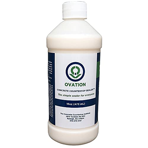 Ovation Concrete Countertop Sealer - an Easy, Food Safe Cement Seal for DIY use (16 oz Satin)