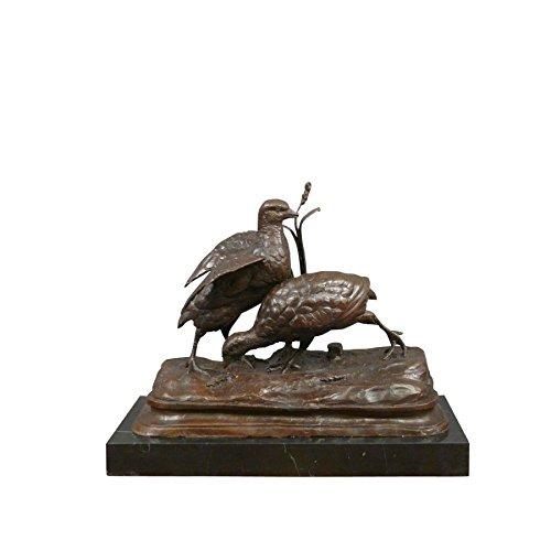 HTdeco - Statuette - Sculpture 100 {7789c28d6bcc518fa2da6ca77abcc02c76afa1cb877cb264d5d0c0685dbd174b} bronze - Bronzestatue - Die Zwei Rebhühner