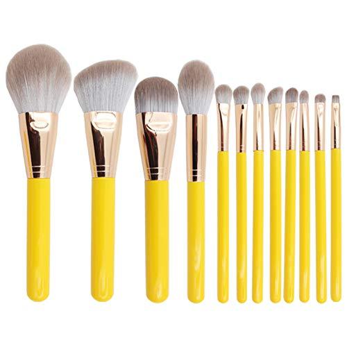 AHEFA12Pcs Professionnel Doux Maquillage Jaune Brosses Ensemble Fondation Poudre Ombrage Brosse Complète Fonction Maquillage Cosmétique Outils Kit