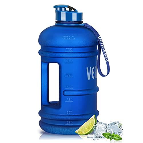 VENNERLI Borraccia Acqua da 2,2 Litri Sportiva Borraccia D'acqua Palestra Plastica Bottiglia Riutilizzabile Portatili per Sport Blu Opaco