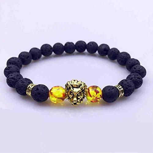 CMAO Natuurlijke Steen Kralen Retro Koper Leeuw Hoofd Armbanden voor Mannen Vrouwen Lava Yoga Reiki Gebed Bijoux Mannelijke Sieraden 8MM Heren Armband