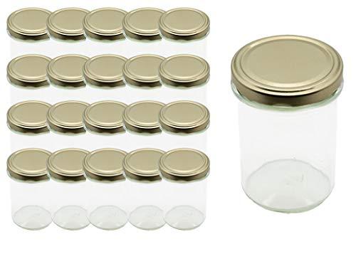 Hl-kauf 20 Sturzgläser Einmachgläser 277ml Marmeladengläser Gläser Deckel Gold Sturzglas, Einmachglas