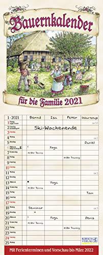 Bauernkalender 2021: Familienplaner - 4 große Spalten mit viel Platz. Hochwertiger Familienkalender mit netten Bildern, Ferienterminen und Vorschau bis März 2022. 19 x 47 cm.