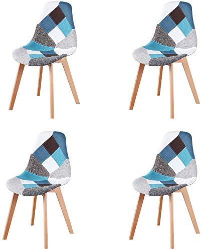 N/A Juego de 4 sillas de Comedor Modernas con Patas de Madera Tapizadas en Tela para Comedor, Sala de Estar, Cocina y Oficina (Azul)