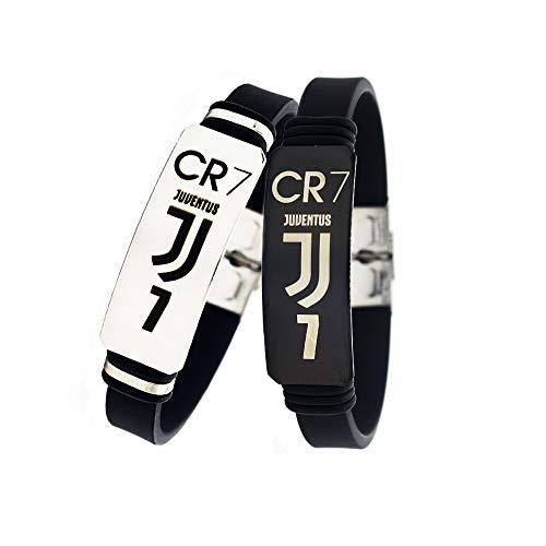 Lorh's store Cristiano Ronaldo - Pulseras ajustables de silicona para jugador de fútbol (2 unidades)