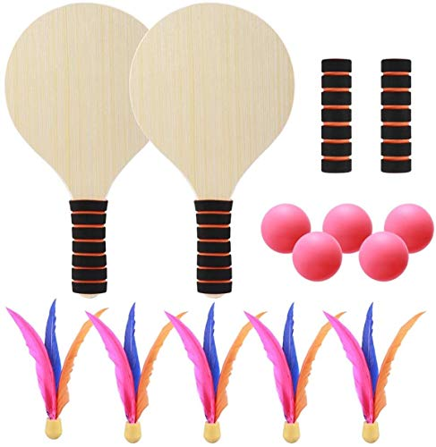 RENFEIYUAN 1 Set Paddel Ball Game Racket Tennis Strand Cricket Pingpong Badmintonschläger für Kinder Erwachsene Badminton Sets