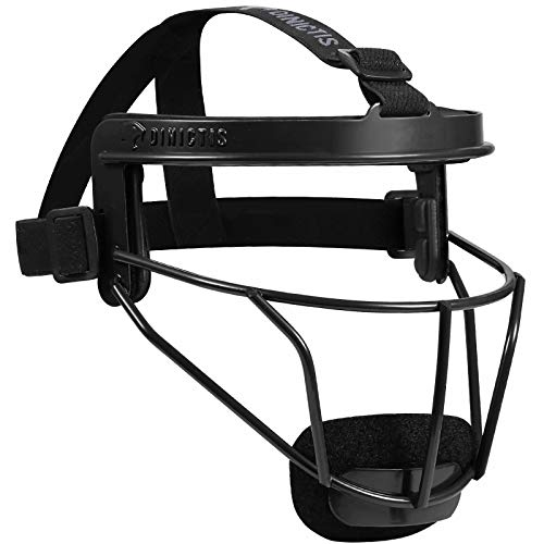 Dinictis Softball Face Mask, with Wide Field Vision, Lightweight and Comfortable, Suit for All Ages - Durable and Safety Fielder Head Guard- Black-Adult(L)