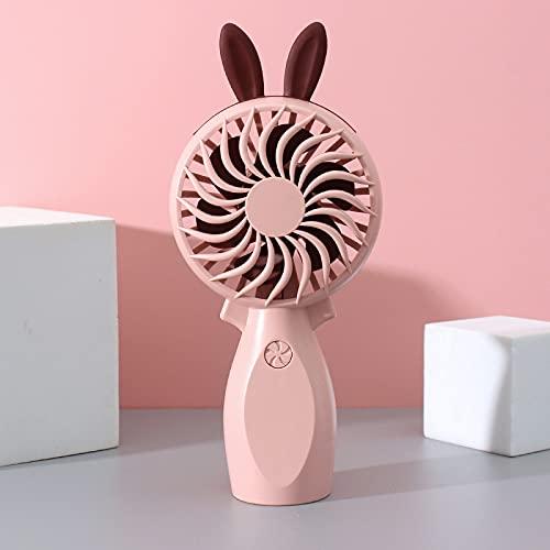 Ventilador de mano de dibujos animados mini USB ventilador de carga regalo estudiante escritorio portátil dormitorio ventilador un conejo rosa
