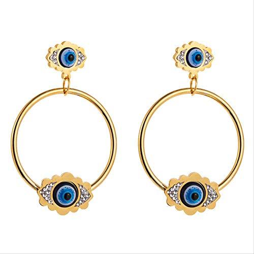 Pendientes colgantes de acero inoxidable de ojo malvado, anillo de Color dorado, pendientes colgantes de ojo turco azul, joyería de moda para mujeres y niñas