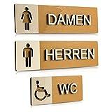 WC Schild Echtholz Holz Edel Piktogramme Toilette Toilettenschilder Türschild Damen Herren (Komplettset (Damen-Herren-Behinderten WC))