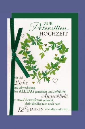 k.A. Klappkarte Zur Petersilienhochzeit , grüne Schleife