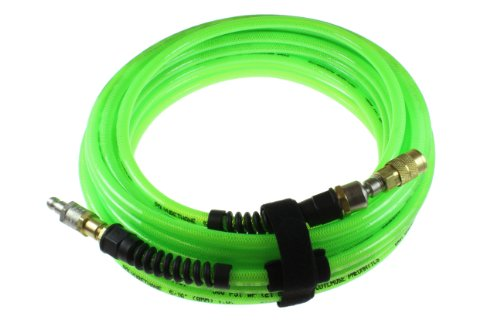 Coilhose Pneumatics PFX6100GS16XS Flexeel Max Reinforced Polyurethane Air Hose, 3/8-Inch ID, 100-Foot Length with 1/4-Inch Ball Swivel Coupler and 1/4-Inch Air Safety Plug, Automotive Interchang
