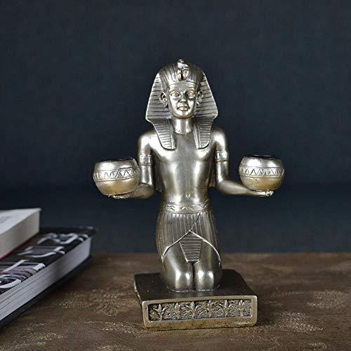 YHNBG Sculptures Home Decor Ornaments Statues Sculptures Egypt Mythology Sculpture Souvenirs Pharaoh Double Candleholder Decoration Living Room Desktop Figurines-Silver_As_Shown