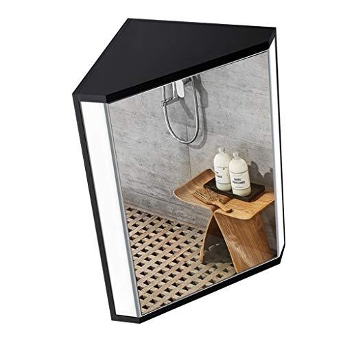 Badezimmermöbel Badezimmer Dreieckspiegelschrank Wandschrank Eckschrank mit Licht Medizinschrank mit Spiegel Badspiegel (Color : Black, Size : 47 * 60 * 33cm)