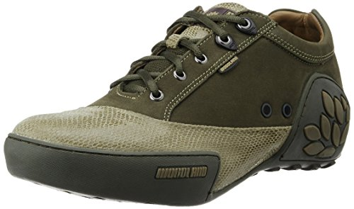 Woodland Men's Olive Green Leather Sneakers - 9 UK/India (43 EU)