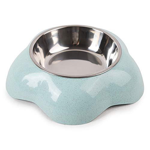 EUYIMOMO comedero automatico Gatos,Cuenco para Mascotas con Forma de Flor de Paja de Trigo, Cuenco para Mascotas Dos en uno de Acero Inoxidable, Azul