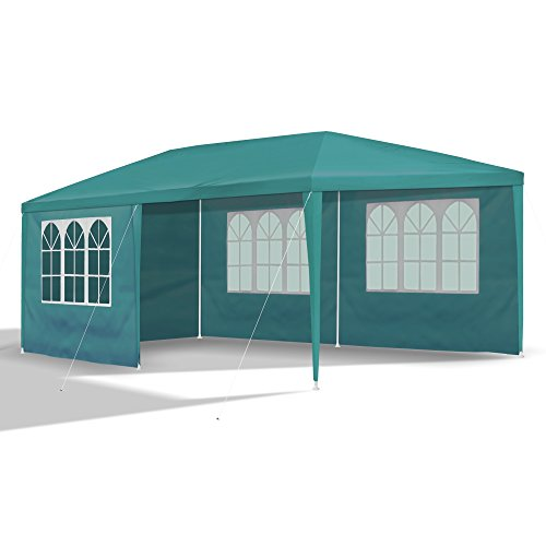 JOM Gartenpavillon 3 x 6 m, Petrol-grün, Pavillon, Pavillion, Partyzelt, Festzelt, Gartenzelt, mit 6 Seitenwänden 110G PE