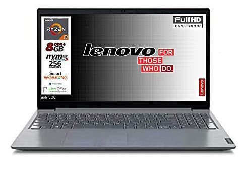 Notebook Lenovo SSD Amd Ryzen 3 SSD da 256Gb Nvme, 8Gb DDR4, Display Full Hd da 15,6 Antiglare, web cam, 3 usb, hdmi, Win10 Pro, LIbre Office, Pronto All'uso garanzia e tastiera Italiana