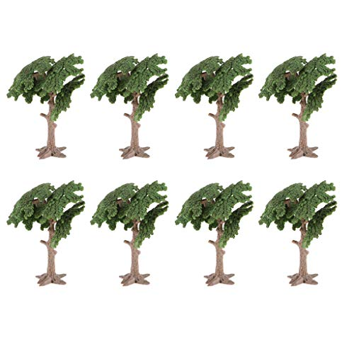 Flameer 8Pcs 10cm Model Tree Landscape Bonsai Green Scenery Layout Cycad Cypress Tree